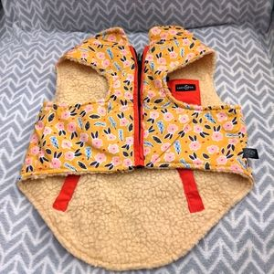 Lucy & co reversible Sherpa dog vest yellow -large